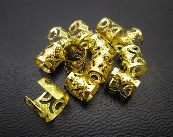30-100pcs small gold silver dreadlock Beads dread tube hair braid adjustable cuff clip 7mm hole