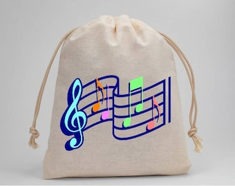 Music, Music Notes, Birthday Party, Party Bags, Muslin Bags, Candy Bags, Treat Bags, Favor Bags, Goodie Bags, 5x7, Drawstring Bags, Set of 5