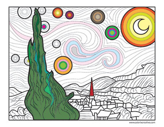 free coloring page of vincent van gogh painting starry starry night ...
