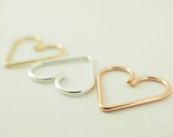1 - 15mm Heart Piercing - 22, 20, 18, 16, 14 gauge - Sterling Silver, 14kt Rose Gold Filled,  14kt Yellow Gold Filled, Niobium, Titanium