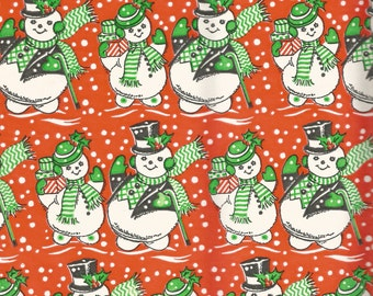Vintage Christmas snowman wrapping paper digital download printable instant image
