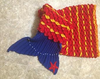 Mermaid tail crochet  pattern  blanket  easy and fun scales