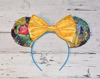 Disney Inspired Beauty and the Beast Stained Glass Mickey Ears with a Gold Sparkle Bow