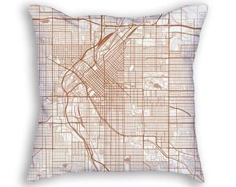 Denver Colorado Street Map Throw Pillow