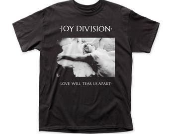 Joy Division Love Will Tear Us Apart Men's Traditional Fit 18/1 Cotton Tee (JD04) Black