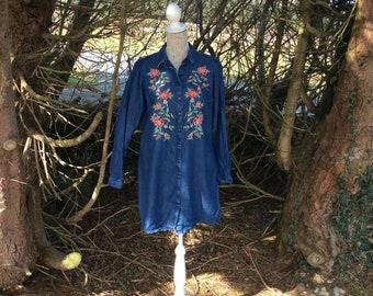 Stunning indigo blue embroidered denim dress
