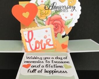 Anniversary card, anniversary pop up card, anniversary pop up box card, anniversary card for her, 3d anniversary card, explosion box card