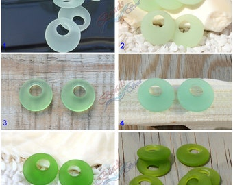 More Color~ 2pcs (20mm) Green Earring Donut Cultured Sea glass Beads~ Jewelry Making Supply~ Beach Glass Pendants