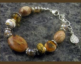 BirdDesigns Lampwork and Gemstone Bracelet - adjustable length - neutral colors - ooak - J508