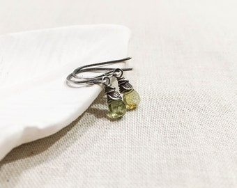 Olive Green Tourmaline Mini Drops - Oxidized Sterling Silver Wire Wrapped Tiny Green Gemstone Drops October Birthstone Artisan Earrings