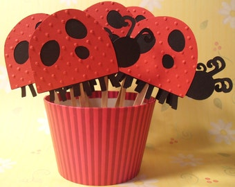 Set of 12 Ladybug Cupcake Toppers Picks for Party