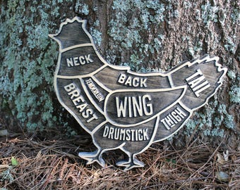 Butcher Chart Chicken Wooden Sign - BBQ Kitchen & Restaurant Decor