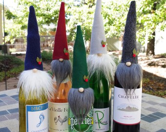 Gnomes, FIVE Wine Toppers, Wine Gift, ALISTAIR, Wine Party, Gnome Toppers, Hostess Gifts, Party Gifts, Nordic Gnome, Wine Bottles, Liquor
