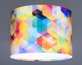 Simon C Page Cuben Curved Multi Coloured Geometric Lampshade Pendant