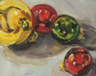 Still Life Ornament Painting - Original Oil - Christmas Ornaments - 6 x 6