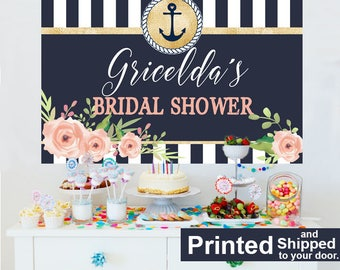 Bridal Shower Personalized Banner, Bride to Be Cake Table Backdrop, Nautical Anchor Backdrop, Custom Photo Backdrop, Wedding Shower Backdrop