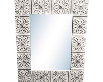 Large Snowflake 28 in. 34 in. Tin Mirror