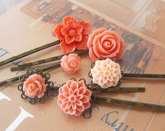 Coral collection bobby pin big rose, little rose, cherry blossom, dahlia peach and coral, peach rose 6pcs