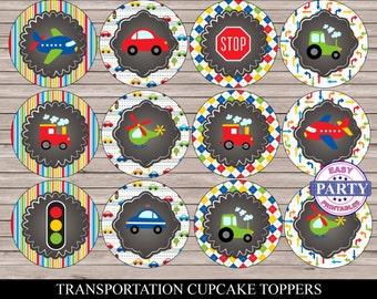 Transportation Party Cupcake toppers, chalkboard, Instant Download, Birthday Party, cars, street lights, trains, trucks, and more.  DIY