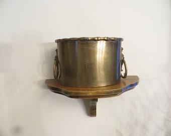 Solid Brass Planter, vintage, handles, flower pot,