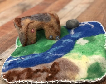 Wet Felted Organic Pure Wool Landscape Playscape Pre-School Waldorf Felt Play Mat Wool Montessori Waldorf Felt Toddler Play Scape Playmat