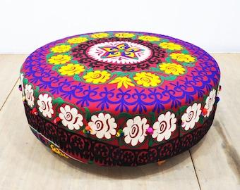 Suzani round ottoman - purple sun