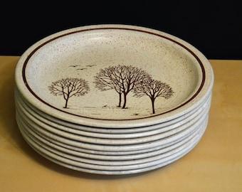 Set of 10 Churchill Homespun Stonecast Dinner Plates 10\  Trees Pattern Staffordshire England & Churchill plates | Etsy