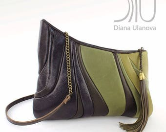 Khaki Clutch Bag | Leather Clutch Bag | Green Clutch Purse | Clutch Bag | Clutch Sputnik Green