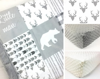 WOODLAND CRIB SET, baby minky bedding, deer bear bedding set, white gray woodland crib set, arrows mountain baby blanket baby shower