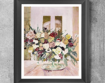 Blush floral, roses, Wedding flowers rose gold art print, bridal flowers, blush painting, floral art Bouquet, original artwork