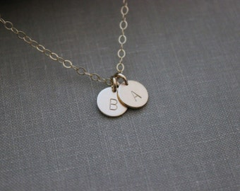 14k gold filled Initial Jewelry, personalized Initial Necklace Simple Monogram, 2, 3, 4, 5, 6 Initial Charms Rustic, Multiple Charms for Mom
