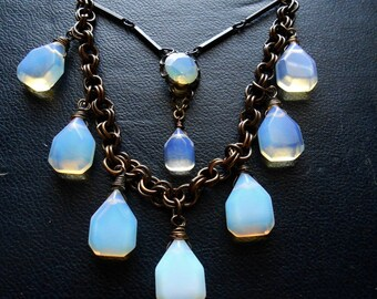 fallen star - opalite statement necklace repurposed vintage jewelry tear drop necklace celestial necklace occult jewelry wedding necklace