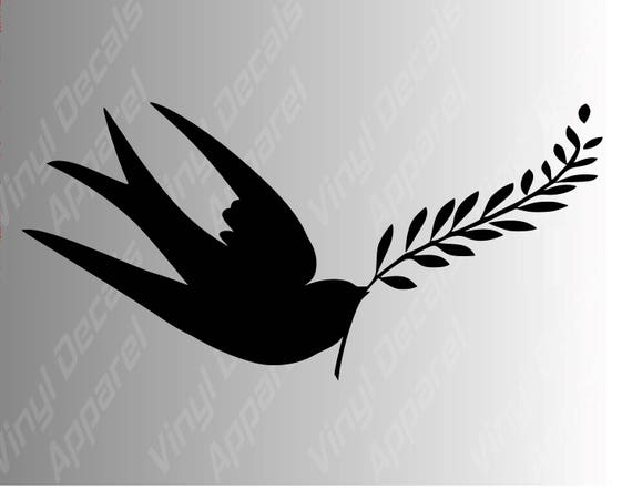 Swallow Bird Peace Symbol Die Cut Vinyl Decal Sticker For Car