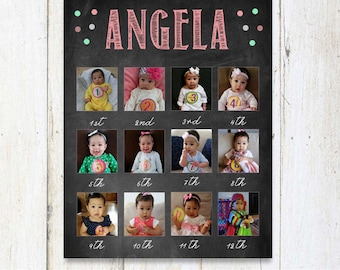 Baby's First Year 1st Birthday Photo Collage chalkboard sign - First birthday backdrop sign - DIGITAL file!
