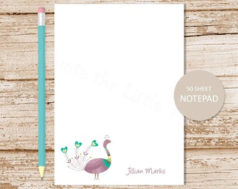 personalized notepad . peacock notepad . peacock note pad . personalized stationery . bird stationary