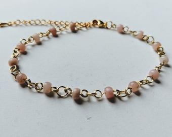 Pink Opal and Gold Bracelet