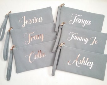 Set of 6 Personalized Wristlet Clutches - Bridesmaid Clutch - Name Wristlet Clutch - Personalized Canvas Bag - Name Clutch - Bridesmaid Gift