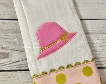 Ready to Ship - Baby Girl Burp Spring Hat Gold and Pink, Baby Burp Cloths, Burping