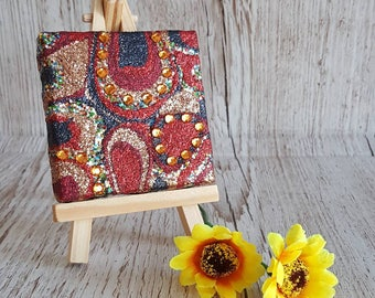 Navy Blue, Gold and Red Glitter Canvas Art Original Abstract Artwork no. 30, mini canvas with easel