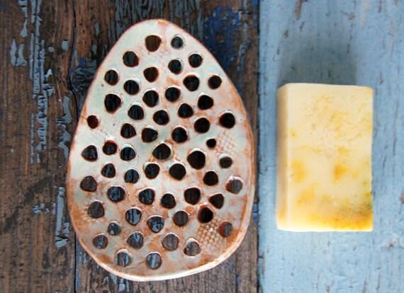 Soap dish green ceramic soap holder handmade ceramics bathroom - Ceramic soap dishes for bathrooms ...