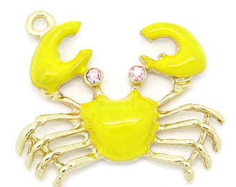 x 1 pendant 32 mm Yellow Sea crab charm, pink rhinestones.