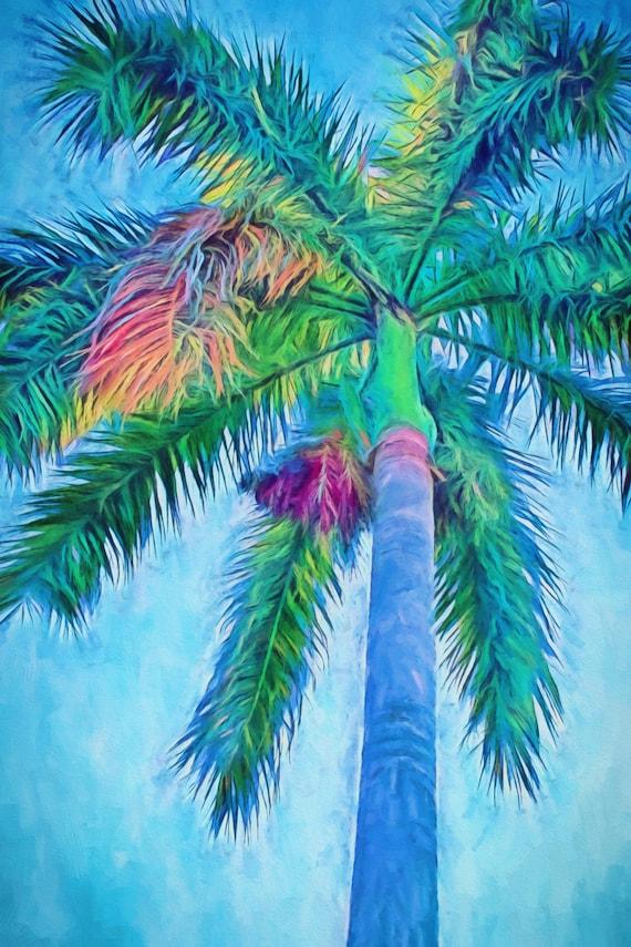 Caribbean Blue I Canvas Palm Trees Royal Palm Palm Tree
