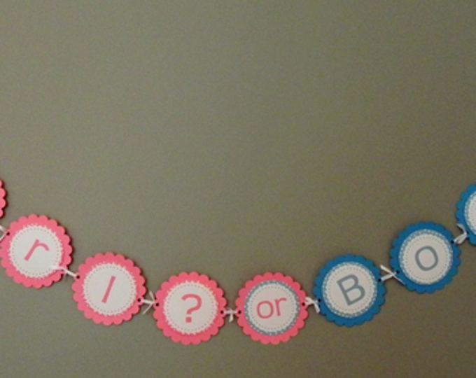 Gender Reveal Party Banner - Girl or Boy Party Decorations die cut bodysuits photo prop