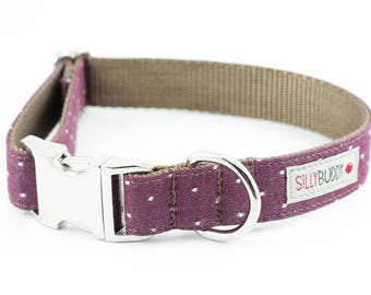 Chambray Burgundy Dot Dog Collar