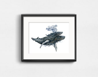 Mother Whale and Calf | Nursery Watercolor Art Print | 10x8