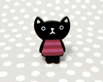 Bella Black Cat Mini Wooden Needle Minder - Strong Neodymium Magnet Cross Stitch Fridge Novelty