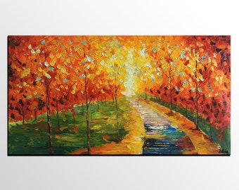 Autum Tree Painting, Large Painting, Wall Art, Abstract Art, Original Painting, Canvas Art, Canvas Painting, Rustic Landscape painting