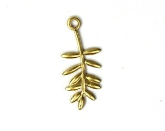 Leaf Spray Stampings Charms 16mm Raw Brass (8) CP052