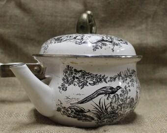 Vintage Enamelware Tea Pot