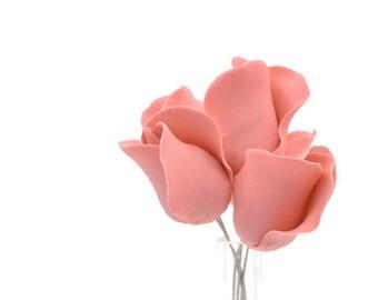 Dusty Rose Color Rose Buds set of 5 for sugar flower arrangements, fondant gumpaste wedding cake toppers, cake decorations, filler flower